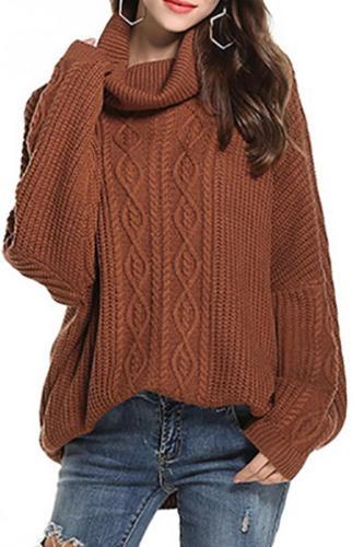 Sleeve-Necked Turtleneck Knit Sweater Loose Versatile Sweater
