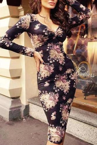 Fashion V Neck Printed Colour Long Sleeve Bodycon Dresses