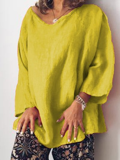Plus Size Casual O Neck Long Sleeve Tops Tunic
