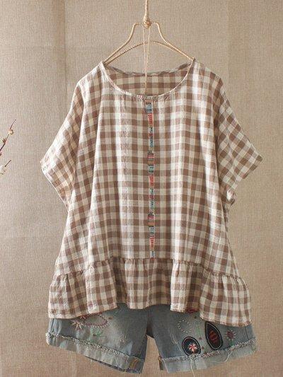 Women Casual Loose Tops Tunic Plaid Blouse Shirt
