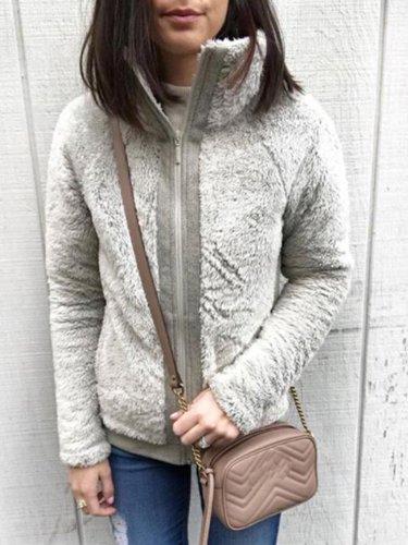 Turtleneck Solid Pockets Long Sleeve Coats