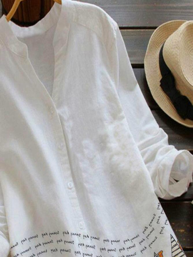 White V Neck Pastoral Cotton-Blend Shirts & Tops