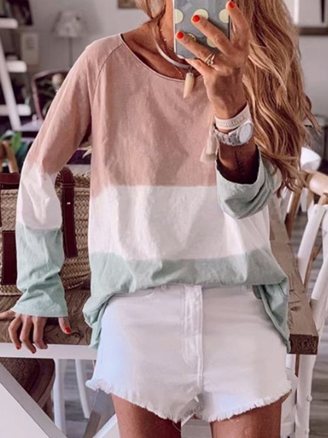 Pink Cotton-Blend Round Neck Long Sleeve Shirts & Tops