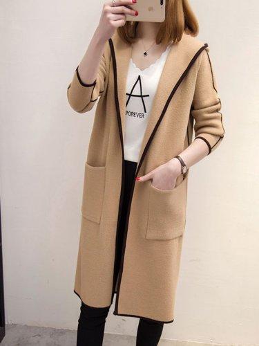 Binding Casual H-line Long Sleeve Hoodie Coat
