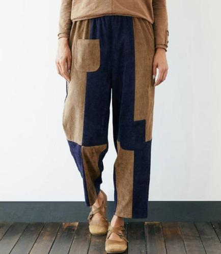 2020 Casual Pockets Long Trousers Vintage Bottoms Patchwork Pants