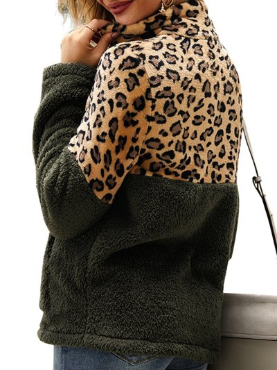 Stand Collar Leopard Print Long Sleeve Casual Outerwear
