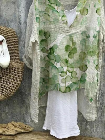 Green Cotton-Blend Patchwork Vintage Shirts & Tops