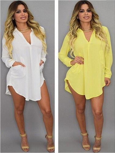 Shirt Collar Casual Plus Size Dress