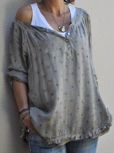 3/4 Sleeve V Neck Cotton Shirts & Tops