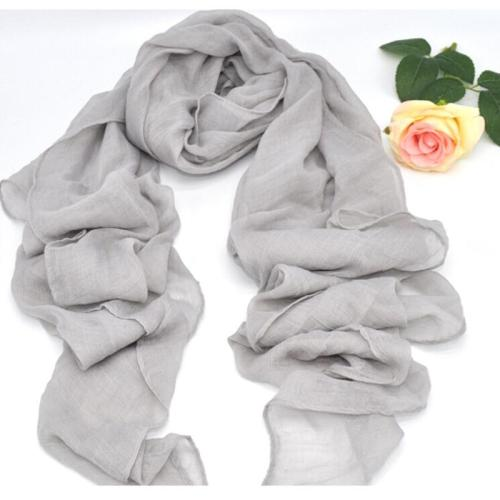 Fashion Soft Cotton Linen Gray Hijabs Musilim Islamic Women Scarf Solid Large Size Beautiful Ladies Shaw Scarves