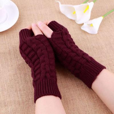 Women Knitted Arm Fingerless Gloves Mittens