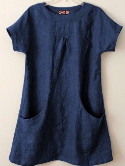 Short Sleeve Pockets Cotton-Blend Shirts & Tops