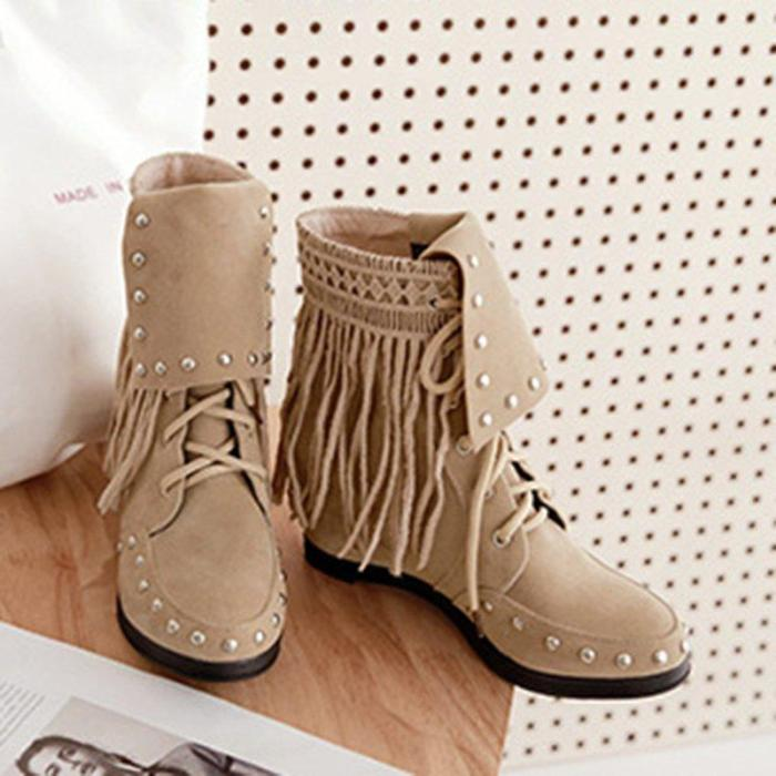 Women Vintage Booties Casual Plus Size Slip On Shoes