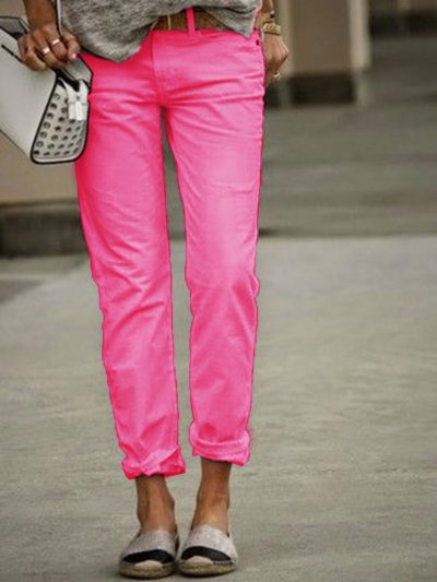 White Casual Solid Pants