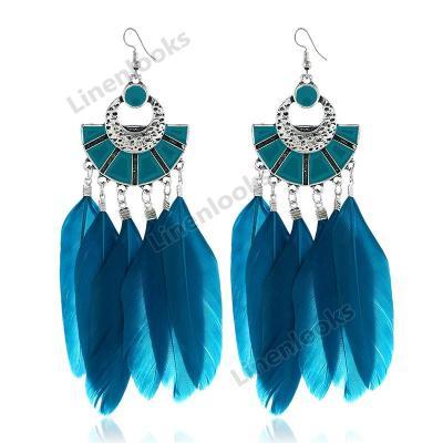 Fashion Earrings for Women Feather Beaded Tassel Earrings
