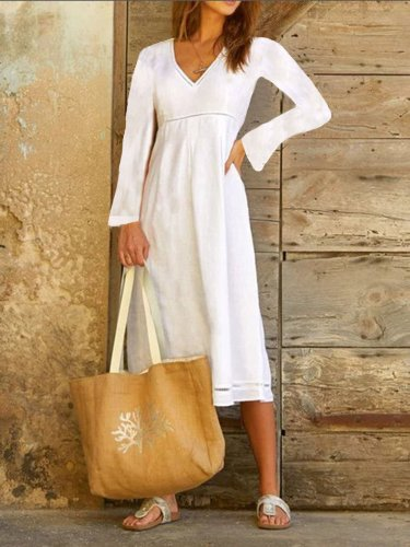 White Cotton-Blend Casual Dresses