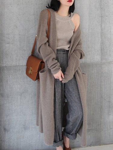 Women Knitted Long Sleeve Open Front Long Maxi Cardigan