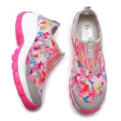 Flower Mesh Breathable Platform Rocker Sole Casual Shoes