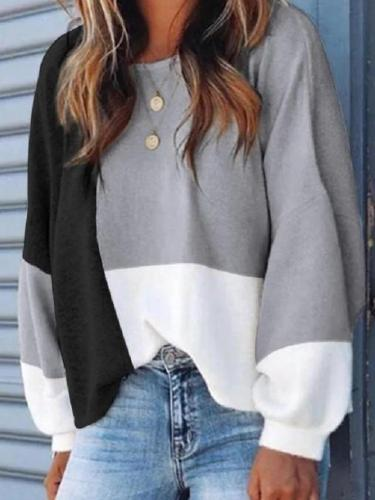 Color-block Buttoned Design Casual Sweatshirt