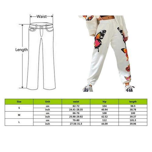 Streetwear Butterfly Printed Sweatpants Baggy Fashion Joggers Elastic Women's Pants