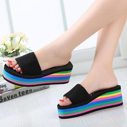 Sandkini Colorful Women Beach Wedges Slippers