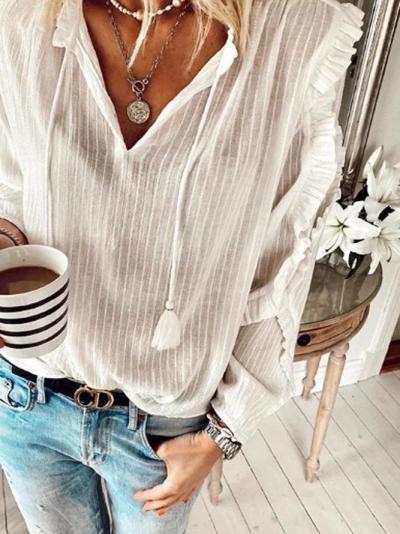 White Holiday Linen V Neck Shirts & Tops