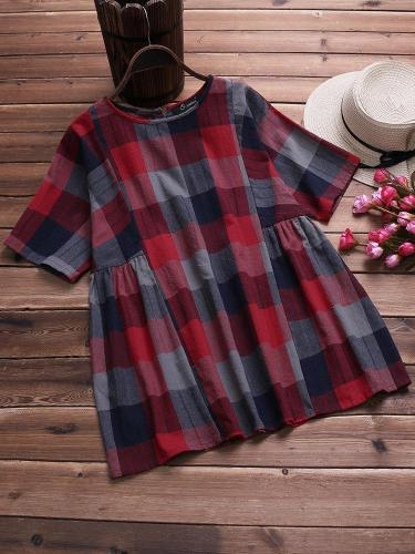 Plaid Crew Neck Casual Shirts & Tops