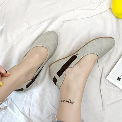 Women Flats Round Toe Casual Comfort Slip On Buckle Shoes