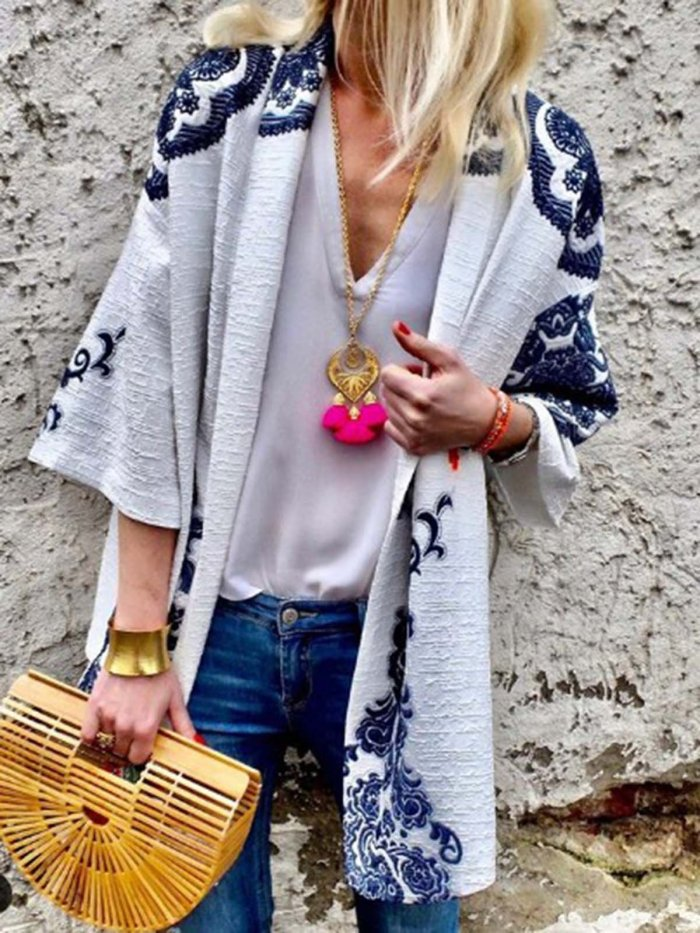 White Long Sleeve Floral Cotton-Blend Outerwear