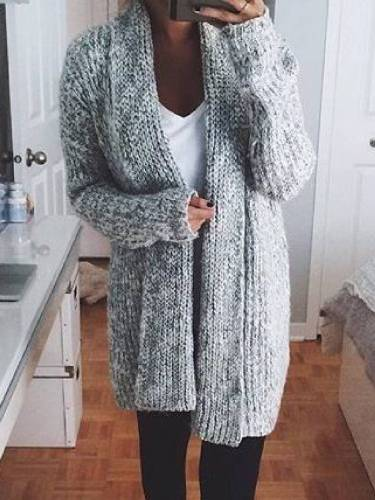 Plus Size Solid Long Sleeve Knitted Sweater