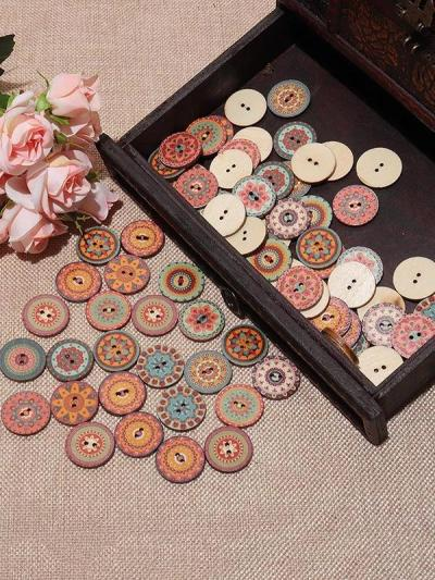 About 100Pcs Multi-Color Round Buttons