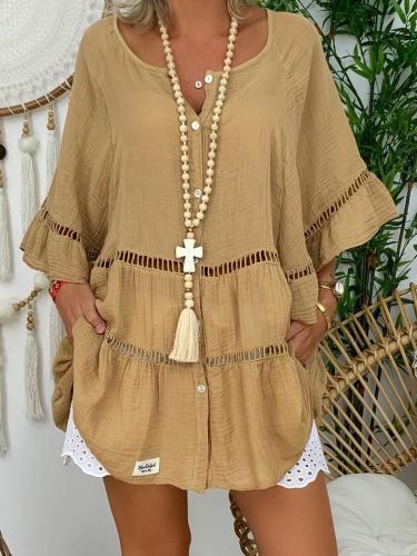 Khaki Cotton-Blend Casual Shirts & Tops