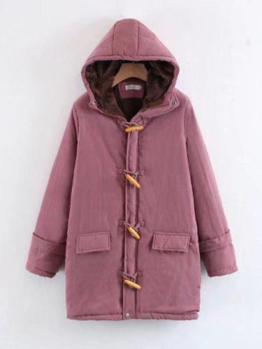 Horn Button Long Sleeve Cotton Quilted Coat