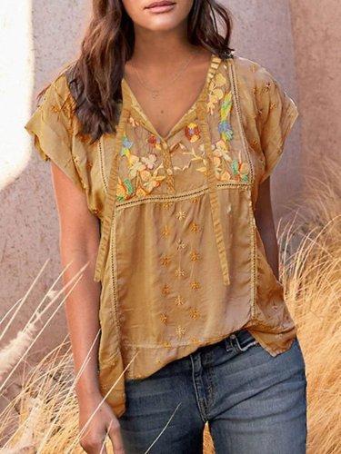 Printed Short Sleeve Cotton-Blend Shirts & Tops