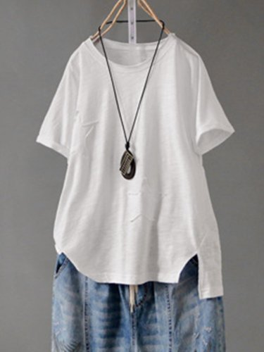 Solid Round Neck Cotton-Blend Shirts & Tops
