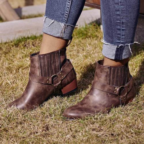 Vintage Slip On Motorcycle Boots Low Heel Buckle Casual Booties