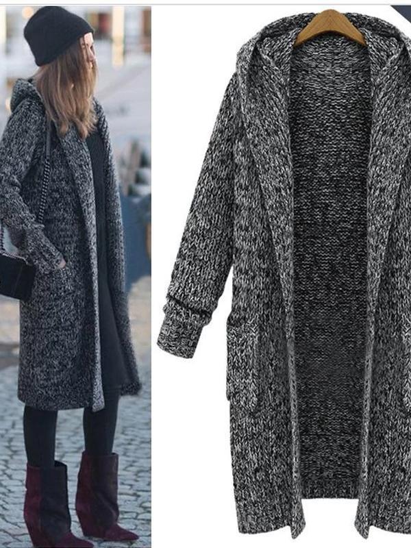 Women Knitted Plain Casual Outerwear