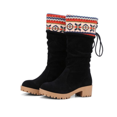 Women Vintage Printed Artificial Nubuck Holiday Lace-Up Boots