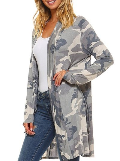Casual Camouflage Printed Abstract Shift Cardigan