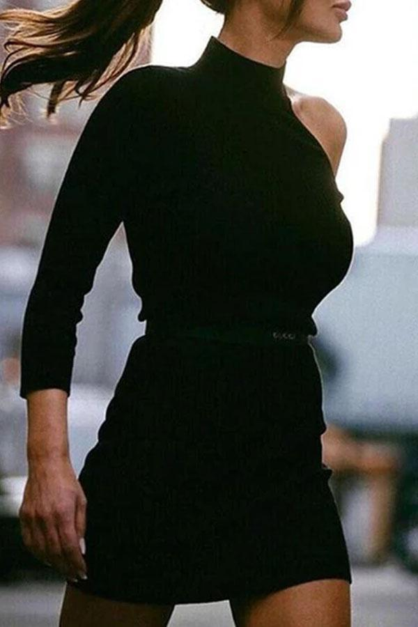 Slim Off Shoulder Knitting Solid Mini Bodycon Dress