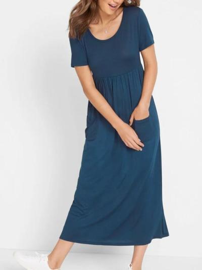 Navy Blue Crew Neck Casual Plain Dresses