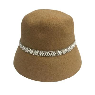 2020 Autumn and Winter New Wool Felt Bucket Pearl Decorated Fisherman Hat Ladies