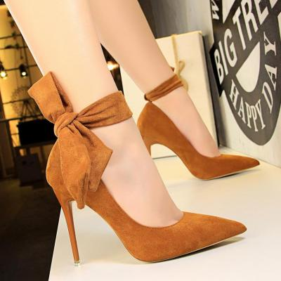 Female Simple Suede Pointed Toe Lady Strappy High Heel Shoes with Bow