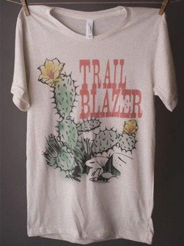 Round Neck Printed Short Sleeve Shirts & Tops