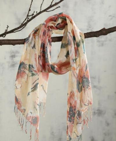 100% Linen Floral Print Women Spring and Autumn scarf Pure Linen Scarf Long Beach Scarfs For Ladies