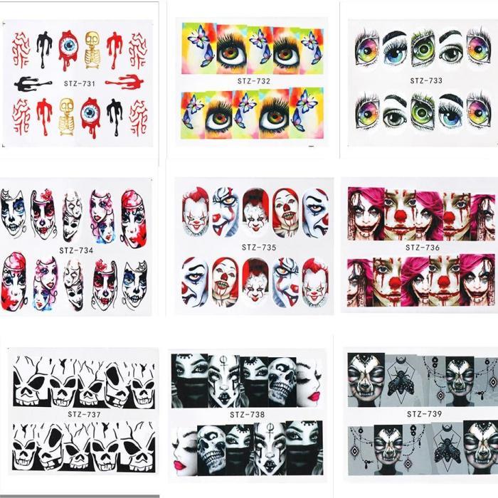 25 sheets Halloween New Nail Art Sticker Flower Bone Lips Eyes Tattoo Horror Design Decals