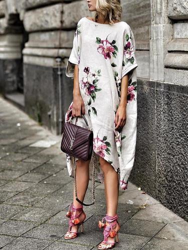 Cotton Boho Floral Print Boat Neck Irregular Casual Dress
