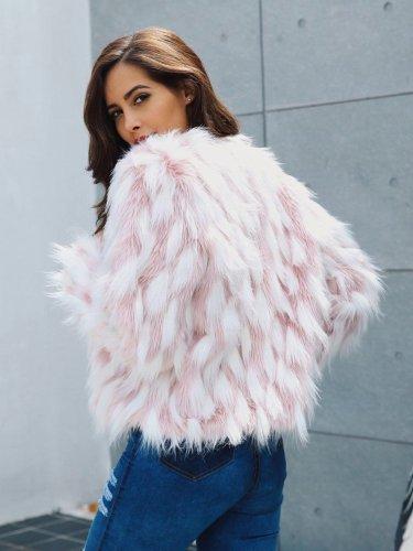 Faux Fur Plaid Patchwork Winter Coat