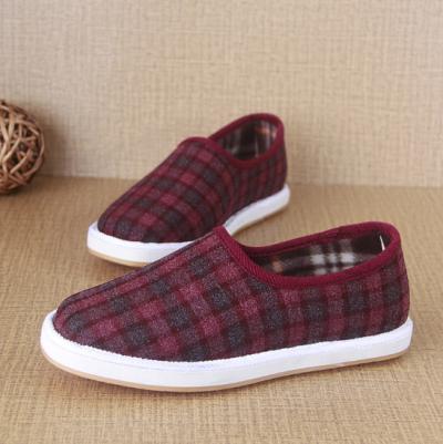 Tartan Flat Heel Casual Color Block Cotton Loafers