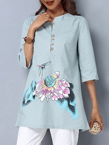 Plus Size Women Hand-painted V-neck Half Sleeves Midi Casual Tops